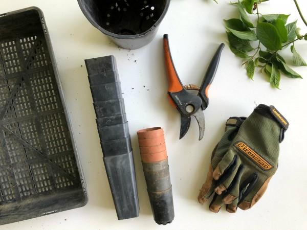 Rydd og organiser de små hageredskapene