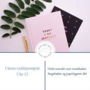 Organiser fargebøker, papir og notatbøkene dine